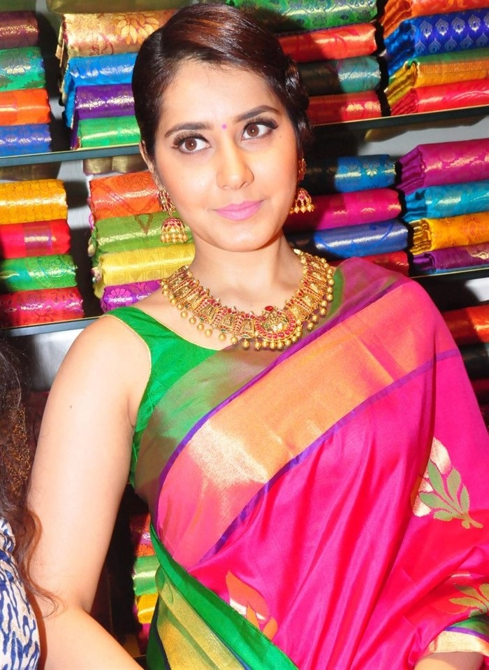 Rashi Khanna Photos At RS Brothers Shop Launch In Red Designer Saree