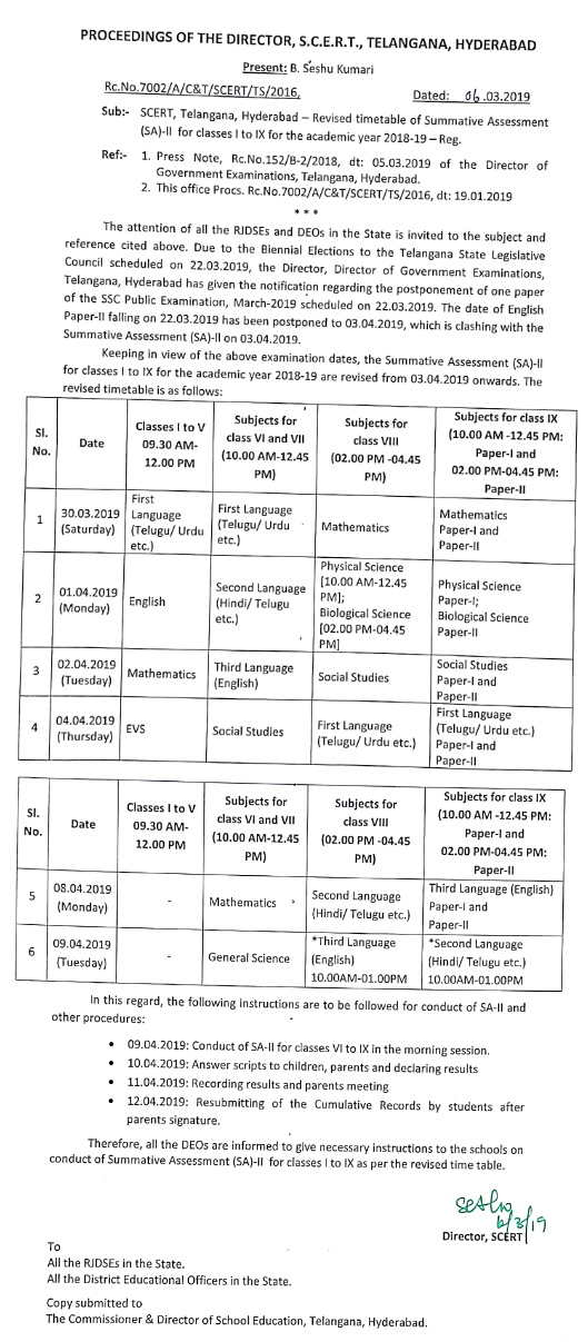 TS Schools SA 2 /Summative-II Exams Time Table 2019