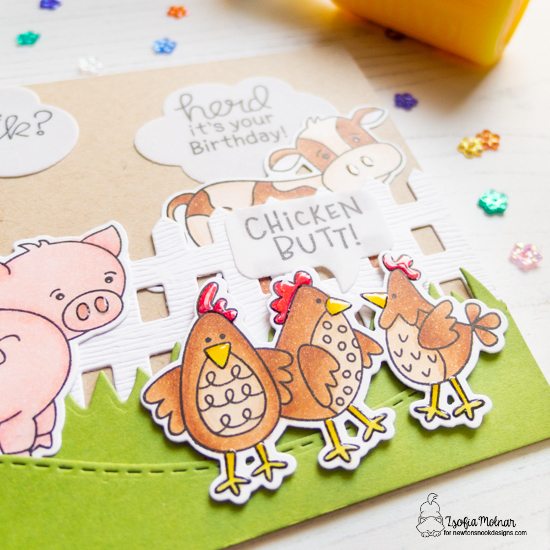 Farmyard Birthday Card by Zsofia Molnar | Cluck Stamp Set, Oink Stamp Set, Moo Stamp Set, Land Borders Die Set, Fence Die, and Speech Bubbles Die Set by Newton's Nook Designs #newtonsnook #handmade