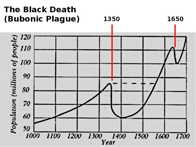 The Black Death  both major outbreaks  had a greater impact on world    Black Death Population Graph