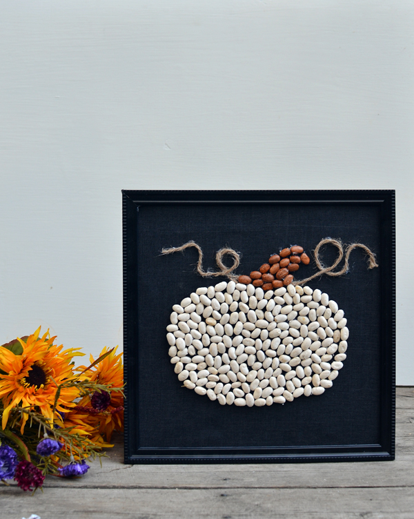 dollar store pumpkin art with beans
