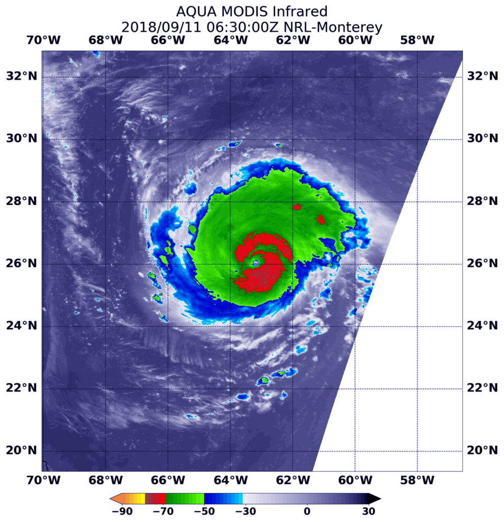 11 the modis instrument aboard nasa s aqua satellite looked at hurricane florence in infrared light modis found coldest cloud top temperatures around the
