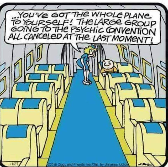 You've got the whole plane to yourself! The large group going to the psychic convention all canceled