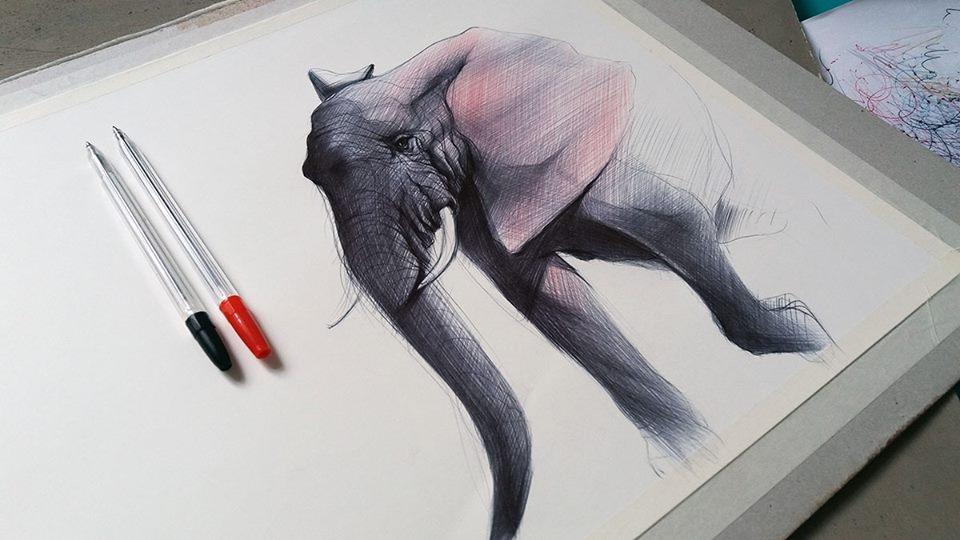 10-Elephant-Yelena-Yefimova-Animals-Drawn-with-Ballpoint-Pens-www-designstack-co