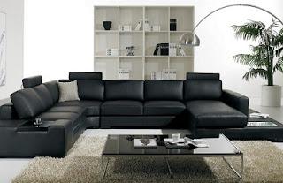 Sala sofá color negro cuero