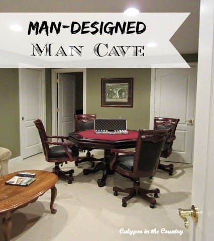 Man Designed Man Cave in the basement - Calypso in the Country blog