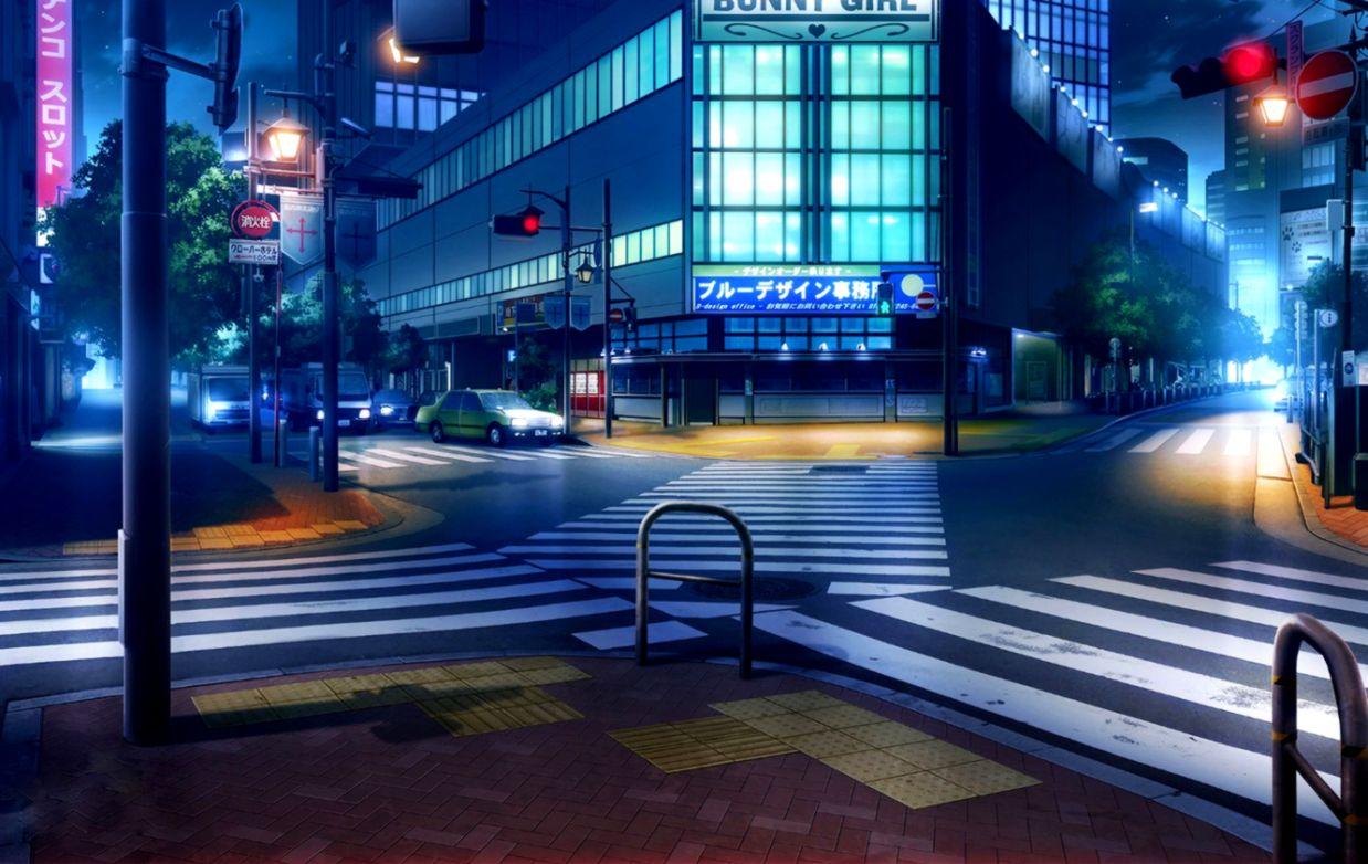 Wallpaper machine night lights Japan traffic light crossroads