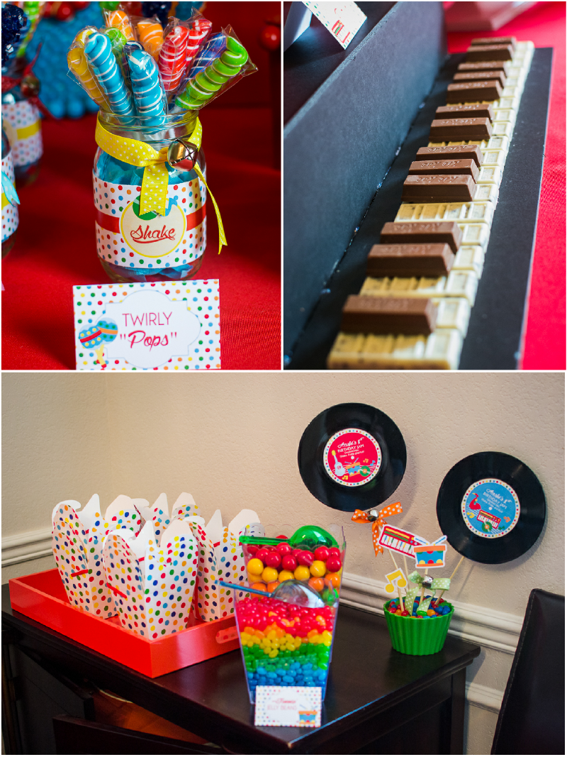Baby Jam: A Music Inspired 1st Birthday Party Desserts and Candy  - via BirdsParty.comTable