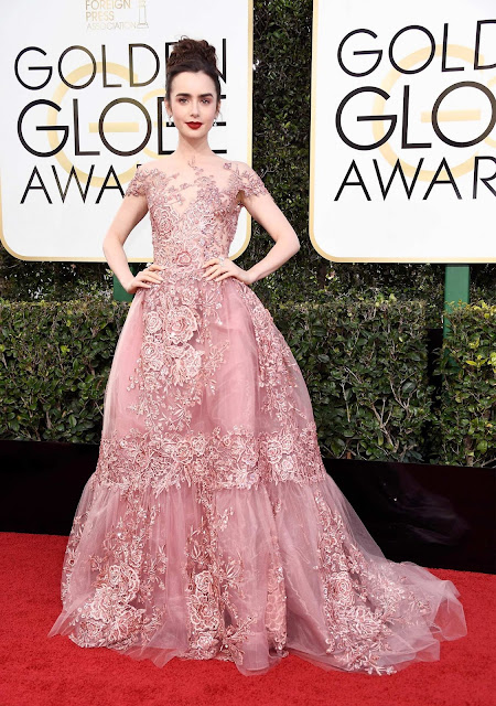 red carpet, golden globes, lily collins