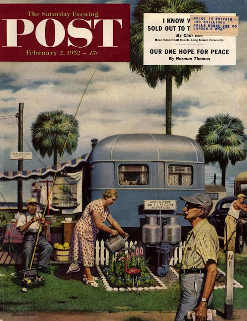 Post cover 1952, trailer park garden. A retiree waters flowers and a plastic flamingo. As Seen on TV and other stories of marketing the American Dream.