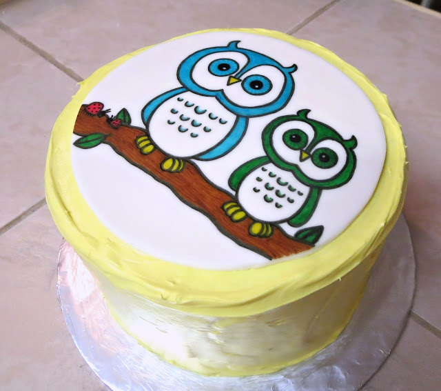 Owls & Ladybugs Teacher Appreciation Cake - Angled View