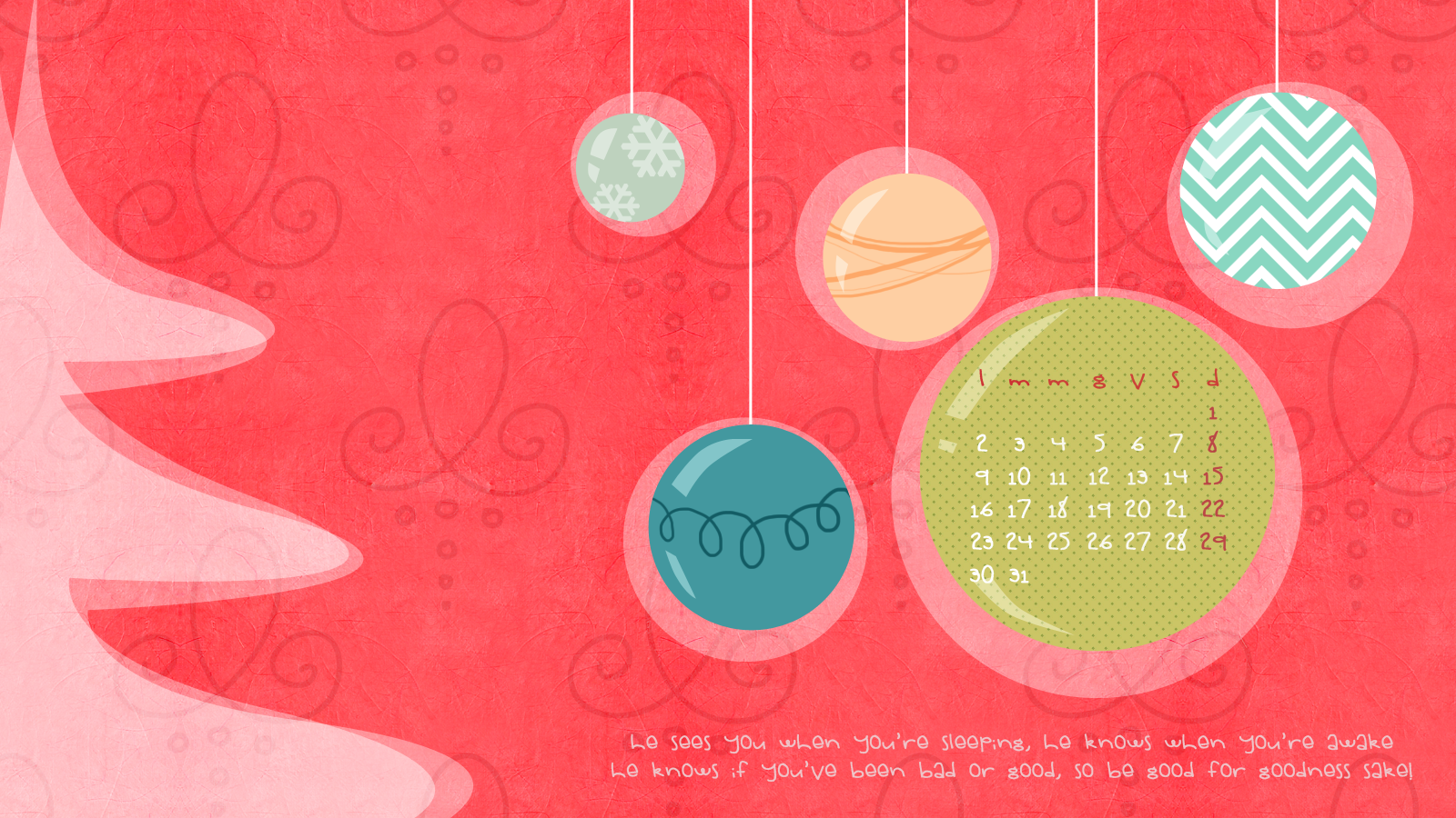Free download: sfondo desktop dicembre con calendario