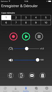Fenêtre de lecture et enregistrement dans l'application