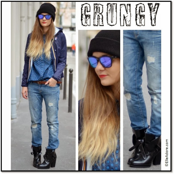K-Way rayé bleu court, k-way ootd grunge chic Anne-Laure ElleAdore.com