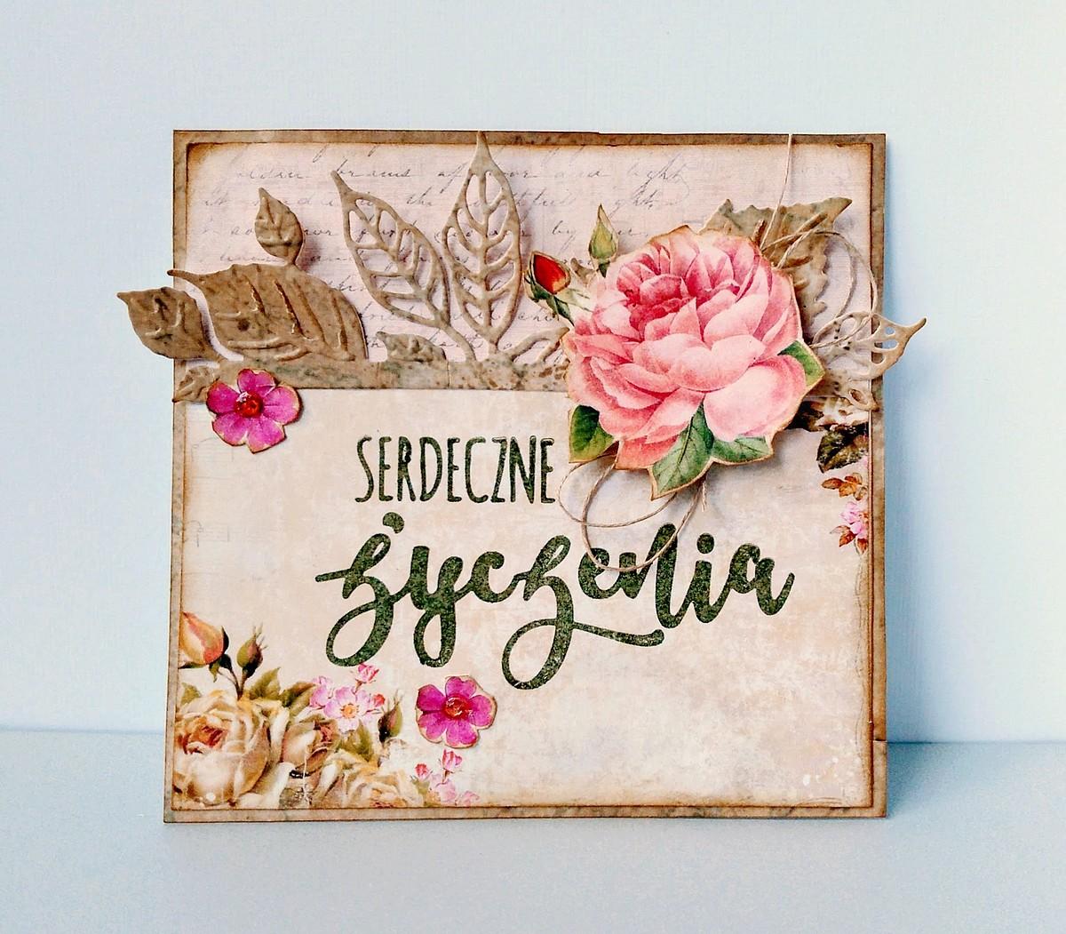 kartka vintage z różami i napisem