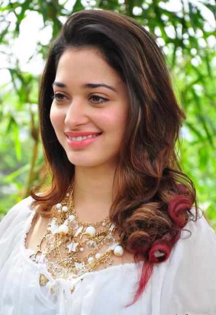 Beautiful Telugu Girl Tamanna Cute Photos In White Dress