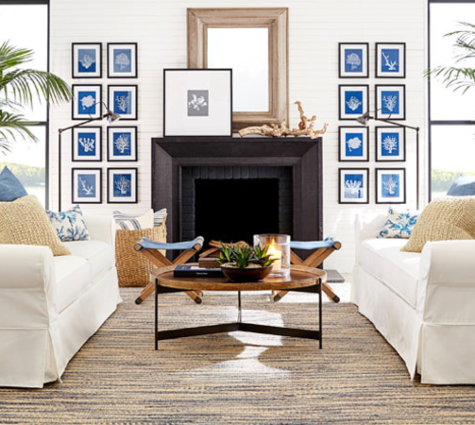 Shop the Look of Pottery Barns Coastal Living Room Inspiration