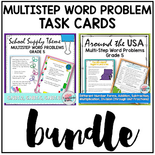 Multistep Word Problems task cards for 4th grade 5th grade