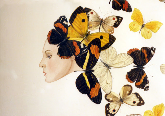 Acuarela surrealista mariposa pintor catalán Isidro Ventura