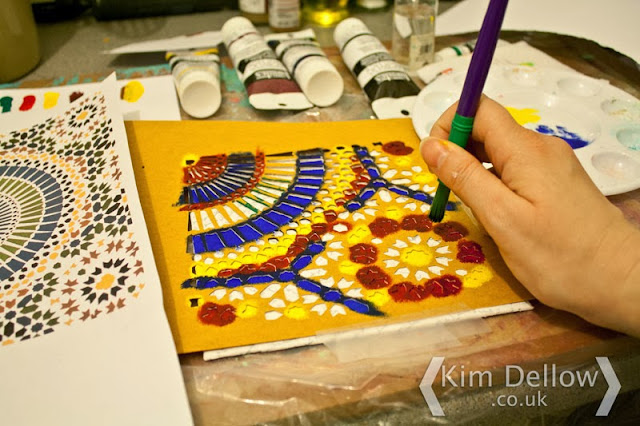 Using the DIY Moroccan tile inspired stencil by Kim Dellow