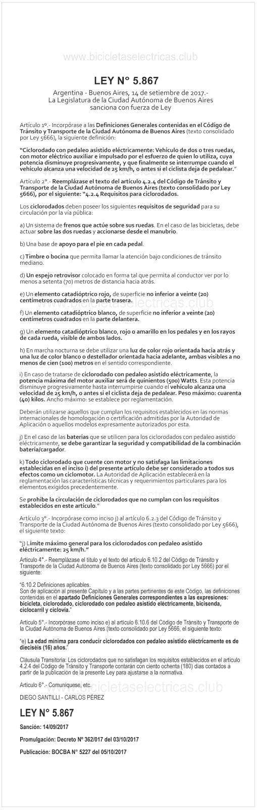 Normativa reglamento bicicletas electricas buenos aires - ley 5867
