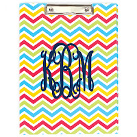 White Background Photo of Chevron Clipboard with KBM Initials