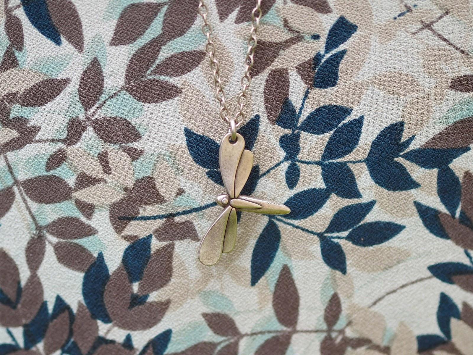 Long dragonfly pendant from www.lizzyo.co.uk