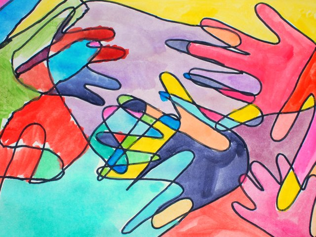 Kids Abstract Hand Print Watercolor Art Project that celebrates family