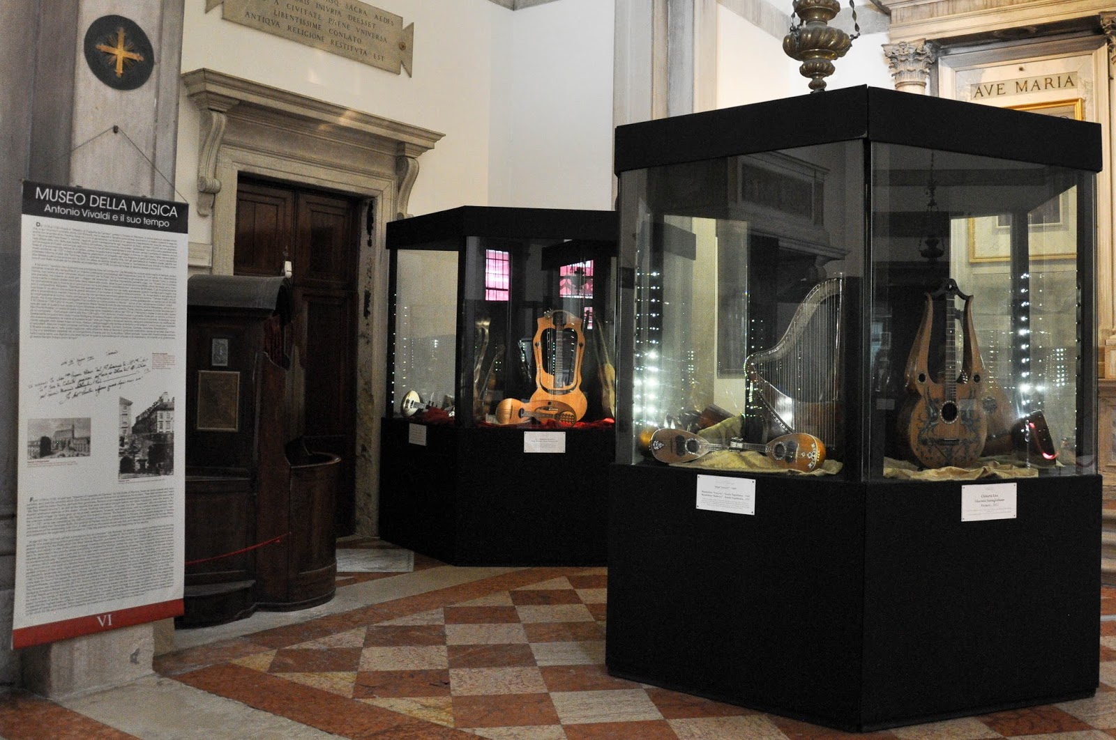 Exhibit cases, Museum of the Music, Venice, Italy