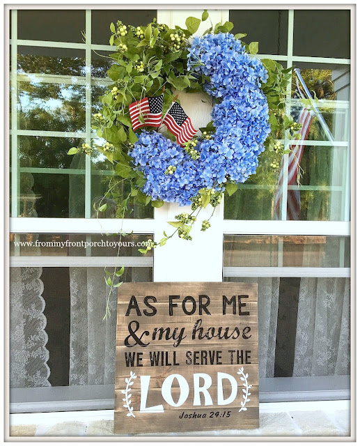 Hydrangea Wreath-Grandin Road-Patriotic Decor-Porch Life-Farmhouse-Fourth of July-Patriotic Front Porch-From My Front Porch To Yours