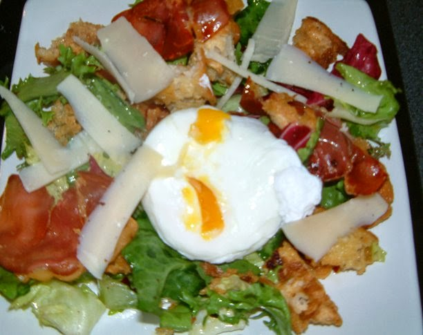 Warm Bread Salad Crispy Pancetta Parmesan and Poached Egg