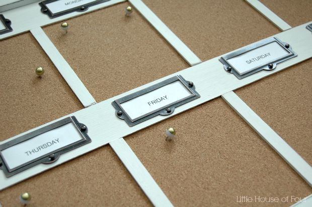 DIY weekly cork board organizer