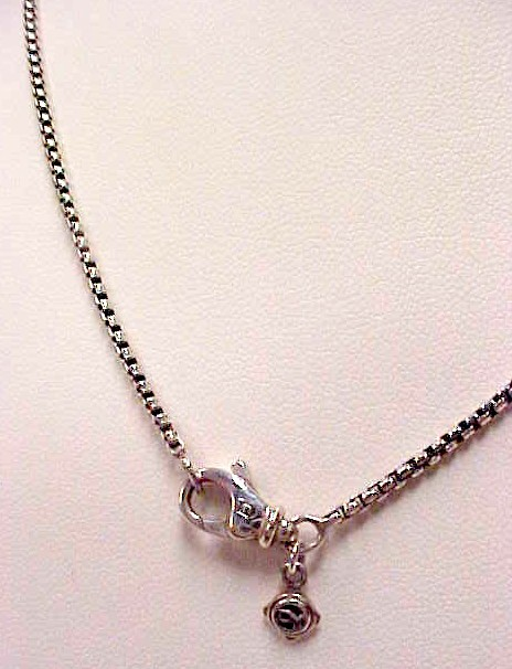David Yurman 925 Sterling Silver Fine Box Link Necklace