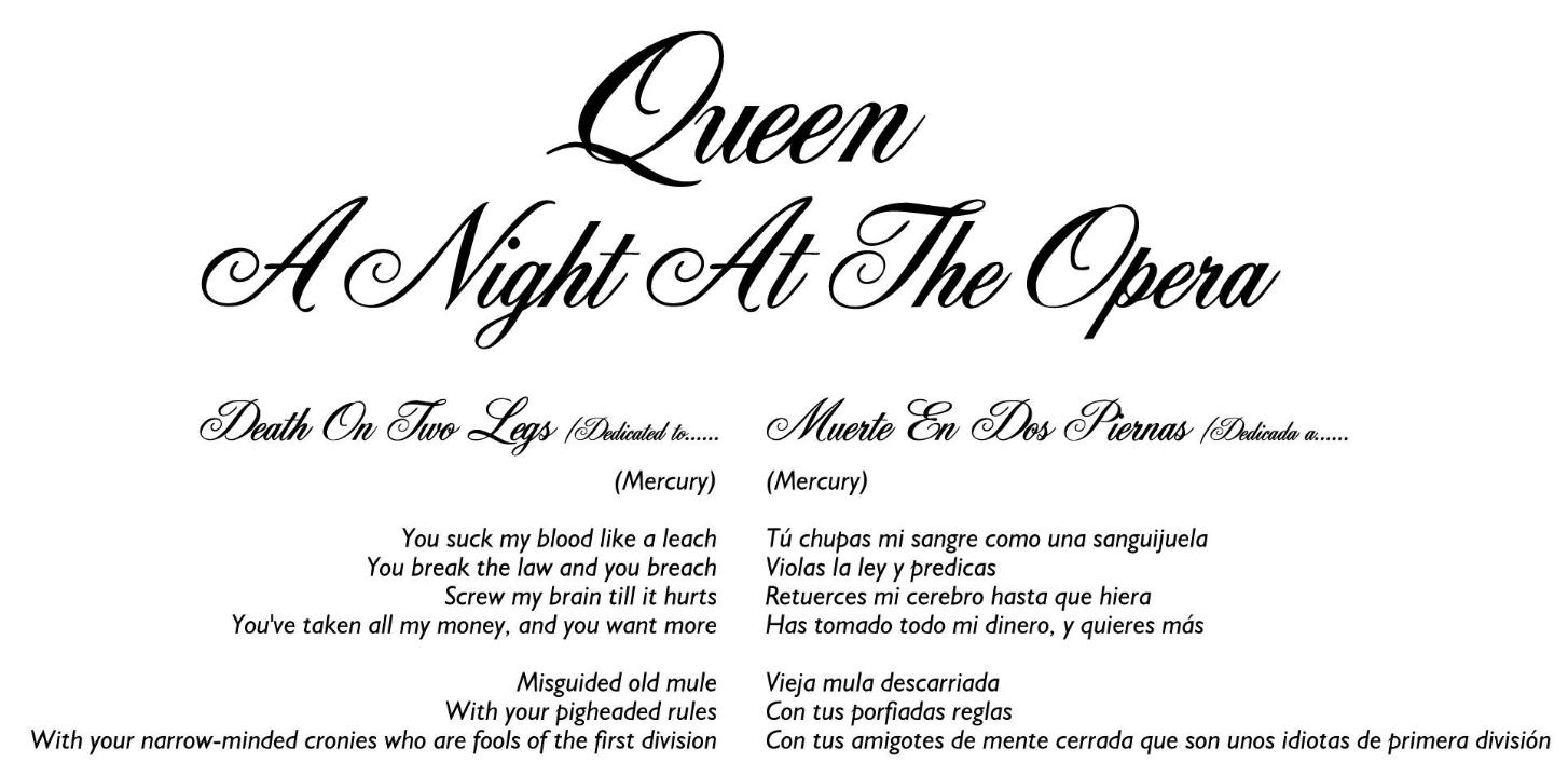 Letras Traducidas - A Night At The Opera