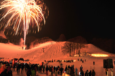 Snow Festival with Fire Works at Nozawa Onsen Ski Trail, Nagano Pref.