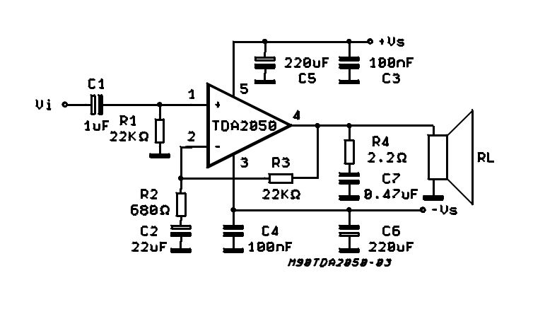 audio circuit schematics tda2050