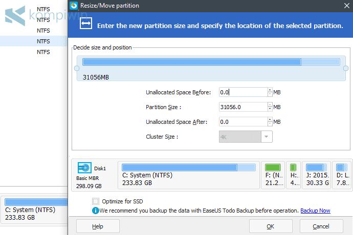 mengatur jumlah isi kapasitas hard disk