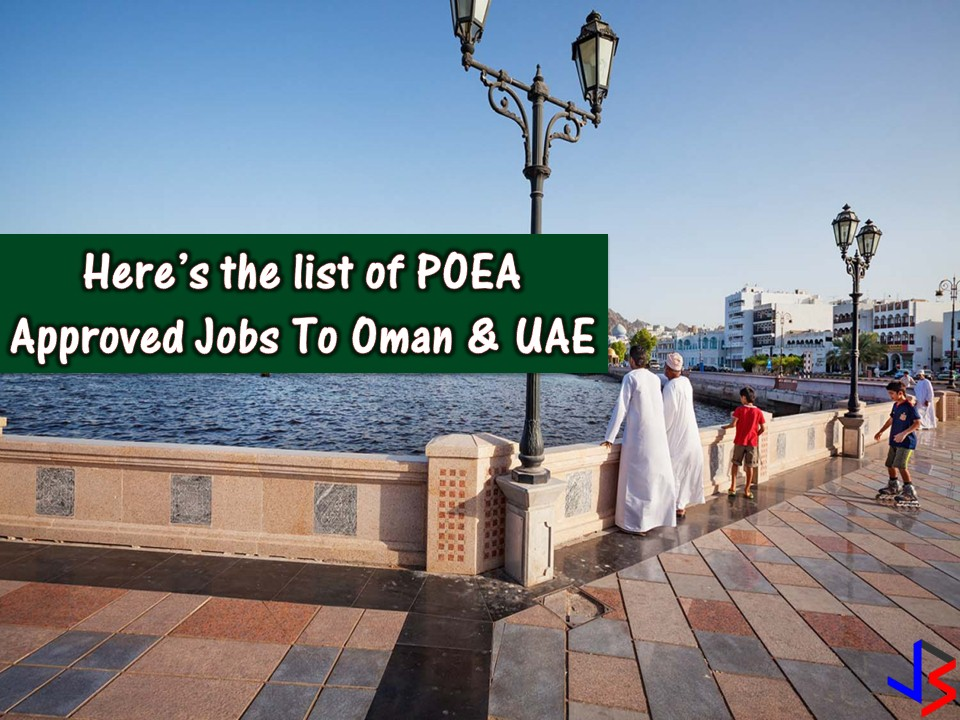 Two of many countries in the Middle East that are always on the top as a destination for Overseas Filipino Workers (OFWs). Oman and the United Aram Emirates are now hiring for hundreds of OFWs who can work in different fields in their local employment. Indeed this is a great opportunity for Filipinos seeking international employment or work abroad.  DISCLAIMER: Please be reminded that we are not a recruitment industry and we are not affiliated to any of the agencies mentioned here below. All the job orders were taken from the POEA database or jobs site and only linked to agency details for easier navigation for the visitors. Any transaction or application you made is at your own risk and account.