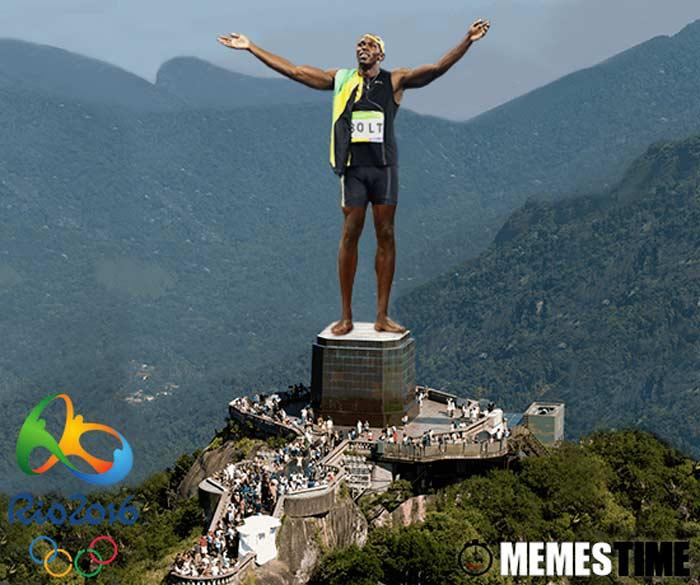 Memes Time Usain Bolt Vendedor dos 100 e 200 metros e Estafeta 4 x 100 metros no Lugar do Cristo Rei na Cerimonia de Encerramento dos Jogos Olímpicos do Rio 2016