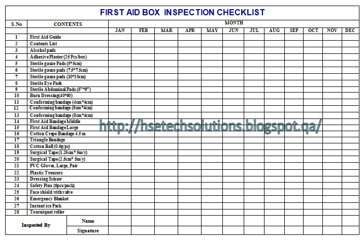 First Aid Kit Log Sheet