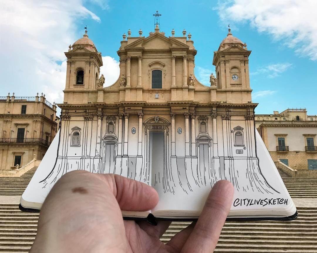 11-Noto-Cathedral-Sicily-Pietro-Cataudella-3D-Architectural-Urban-Moleskine-Sketches-www-designstack-co