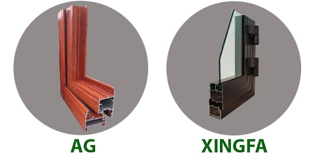 Hình ảnh 2 hệ cửa nhôm kính cường lực Xingfa và AG