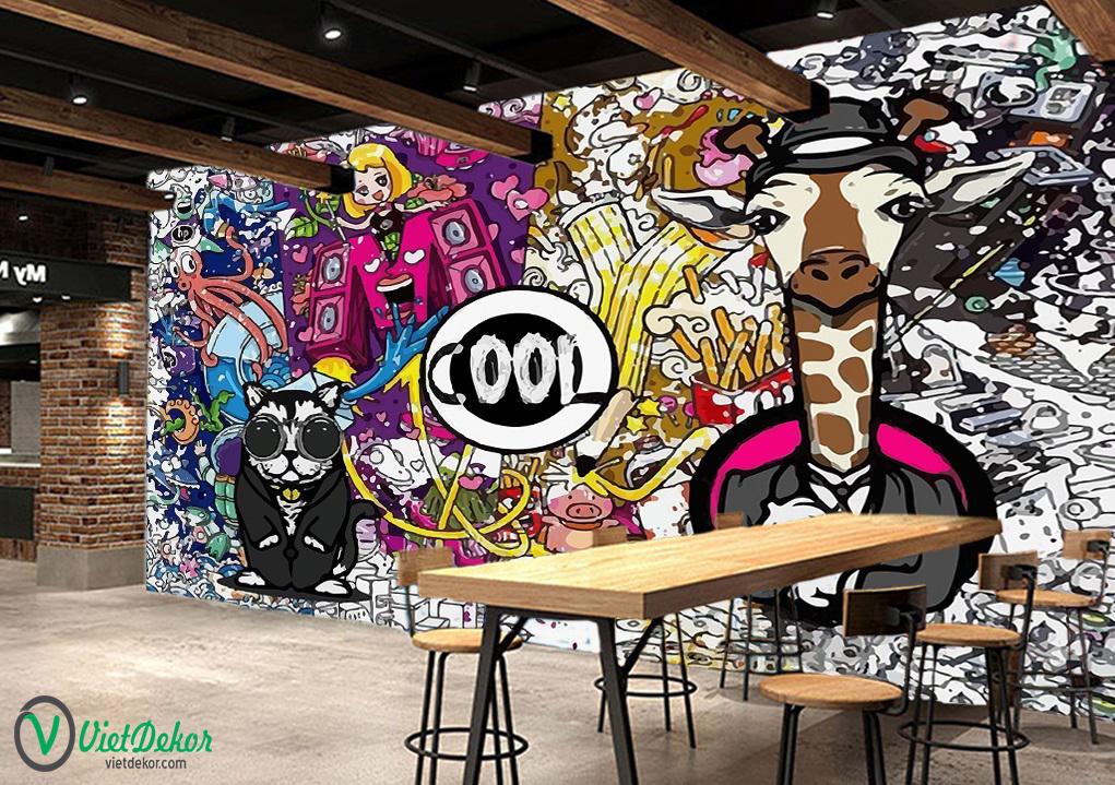 Tranh dán tường 3d trang trí quán cà phê
