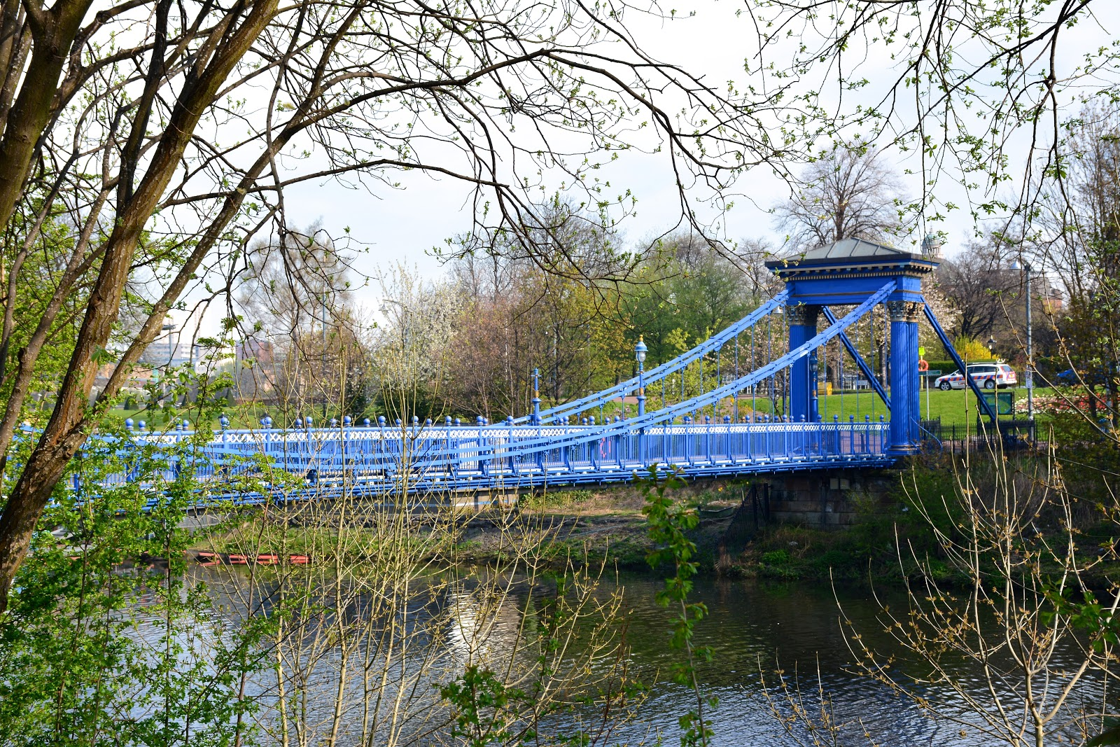 Springtime at the St. Andrews Suspension Bridge in Glasgow, Scotland