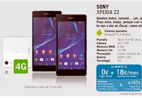 Sony Xperia Z2 YOIGO: precios y características principales