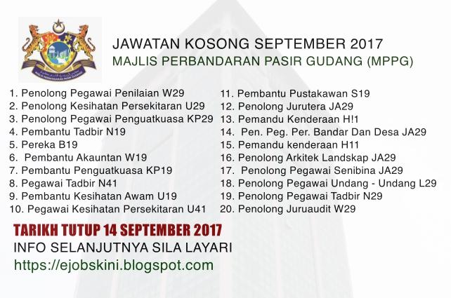 Majlis Perbandaran Pasir Gudang Mppg Jawatan Kosong September 2017