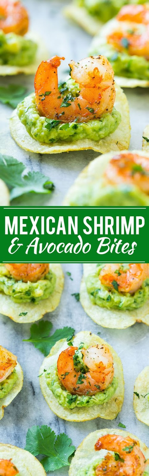 This recipe for Mexican shrimp bites is seared shrimp and guacamole layered onto individual potato chips.