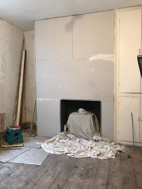 plasterboarded chimney diy