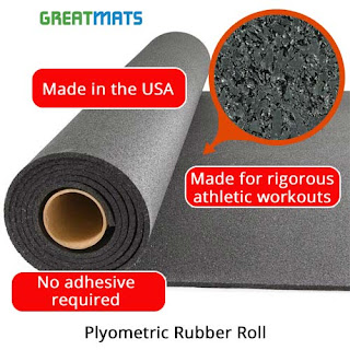 Greatmats plyometric rubber roll flooring 8mm thick