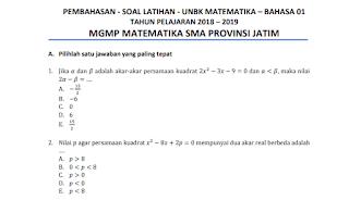 Kumpulan Latihan Soal Matematika SMA/MA/SMK Tahun 2020